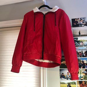 Garage Red Sherpa Lined Windbreaker
